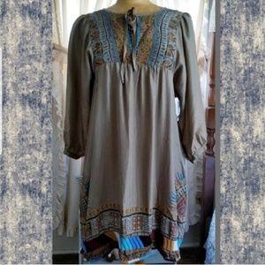 0595358288ce DaNang Boho Hippie printed Silk Embroidery dress